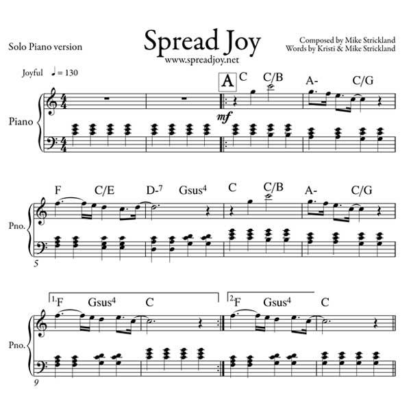 All That Jazz Sheet Music Piano: » Spread Joy Sheet Music (Solo Piano