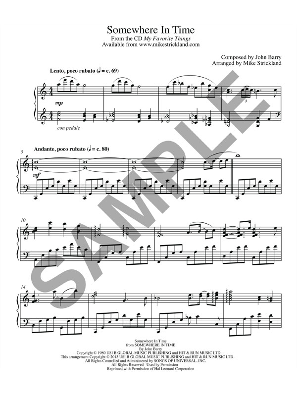Piano somewhere piano sheet music : Somewhere In Time