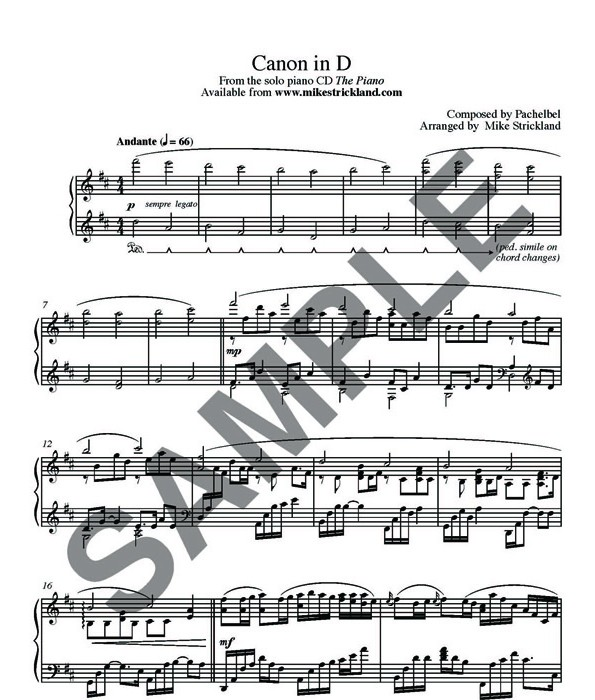 Canon In D Pachelbel Jazz Version For Piano Solo Sheet: » Pachelbel Canon In D